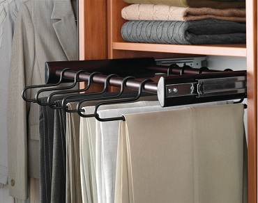 The Synergy Pants Rack Pull Out Holds Up To 24 Hangers.