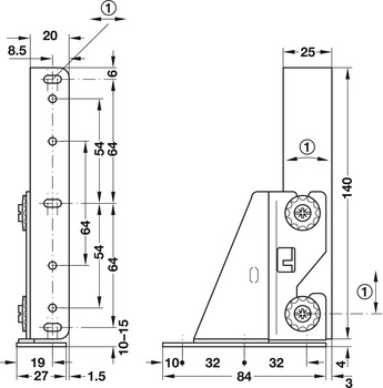 Adjusting element, for drawer front panels