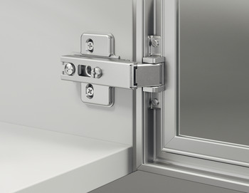 Aluminum Frame Door Hinge, Häfele Metallamat A, inset mounting, opening angle 110°
