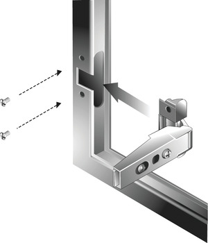Aluminum Frame Door Hinge, Salice, 105° Opening Angle, Self Closing, Full Overlay