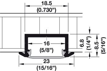 Aluminum Profile, for Recess Mounting, Shallow