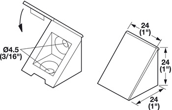 Angle Bracket, with Attached Cover Cap, Plastic