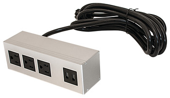 Angled Power and Data Module, Dock 3110, with 3 Outlets, Surface Mount