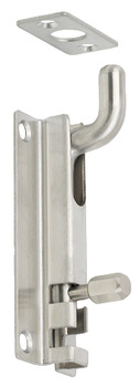 Barrel Bolt, Straight or Cranked Neck, Width 38 mm, Stainless Steel