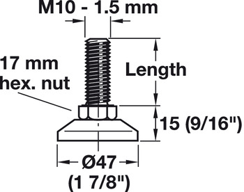 Base Leveler, M10 Thread; Fixed Foot