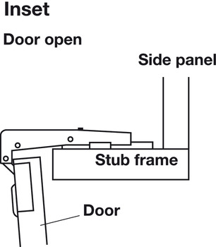 Blind Corner Concealed Hinge, Salice, 94° Opening Angle, Self Close, Inset Mounting, Nickel-Plated