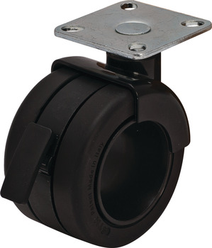 Caster, Plate Mount, Load-Bearing Capacity 110 lbs., Black/Black