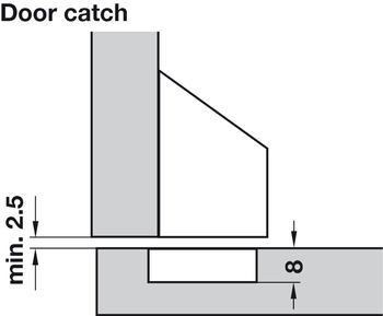 Catch for PUSH Hinge, Press-Fit