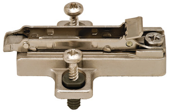 Clip Mounting Plate, Häfele Duomatic SM, zinc alloy, with pre-mounted special screws and spreading dowels