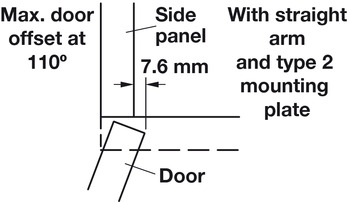 Concealed Hinge, 110° Opening Angle, 1/2 Overlay