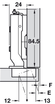 Concealed Hinge, 95º Opening Angle, Full Overlay Mounting, 22 mm