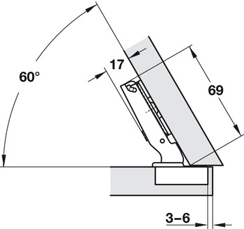 Concealed hinge, Häfele Duomatic 120°, for -30° corner application