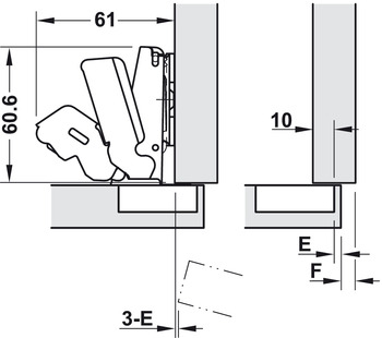 Concealed Hinge, Salice, 165° Opening Angle, Self Close, 1/2 Overlay