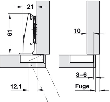 Concealed Hinge, Salice 200 Series, 120° Opening Angle, Self Close, 1/2 Overlay