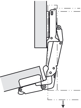 Concealed Hinge, Salice PUSH, 165° Opening Angle, Self-Opening, Half Overlay