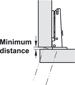 Concealed Hinge, Salice with Zero Protrusion, 155° Opening Angle