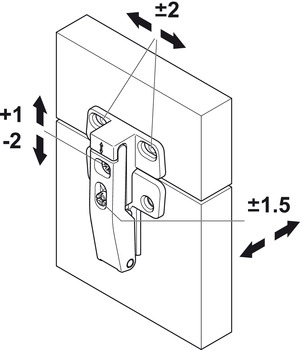 Connecting Hinge, for Doors with 20 mm (13/16) Aluminum or Wood Frame
