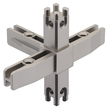 Corner Joint, for multi-level shelf system, 5-sided
