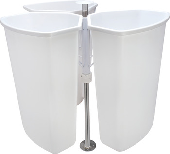 Corner Recycling Bin, KV, Triple Bin