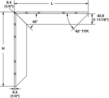 Countertop Support Bracket, Aluminum