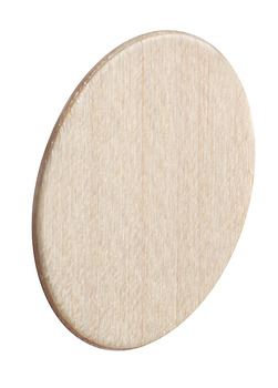 Cover Cap, Wood Veneer, Unfinished, Self-Adhesive, Ø 18 mm