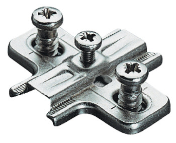 Cruciform mounting plate, Häfele Duomatic A, steel, pre-mounted Euro screws, for side panel thickness 19 mm, drilling depth 11.0 mm