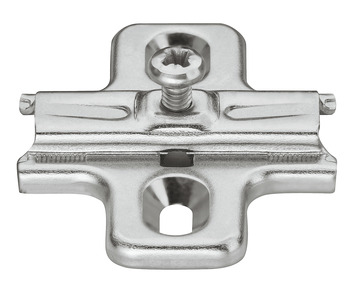 Cruciform Mounting Plate, Häfele Duomatic A, steel, with chipboard screws, edge distance 37 mm