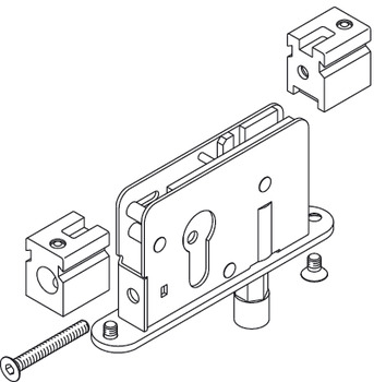 Deadbolt Lock With Guide Roller, For Profile Cylinder, 17 mm (11/16)