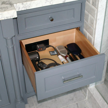 Docking Drawer, Style 21 Flush Powering Outlet, with 2 x AC GFCI Outlets with Thermostat Reset Feature