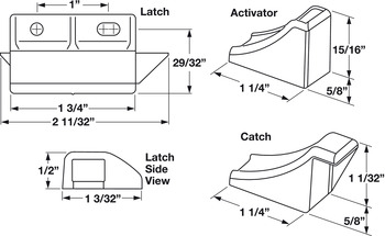 Double Door Latch Kit, Plastic