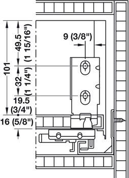 Rear panel installation dimensions