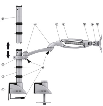 Ellipta® Monitor Arm, Basic - Short