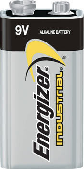Energizer Industrial Battery, Alkaline, 9v