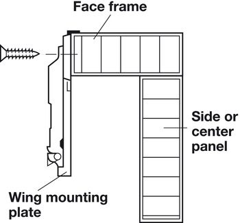 Face Frame Wing Mounting Plate, Salice, Screw-mounted