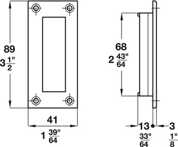 Flush Pull, for Sliding Doors, 68.5 Recess