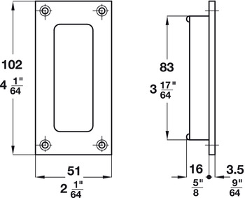 Flush Pull, for Sliding Doors, 83 Recess