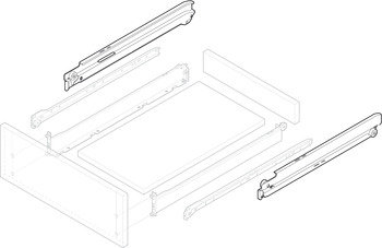 Full Extension Member, for Grass Zargen Single-Wall Metal Drawer System