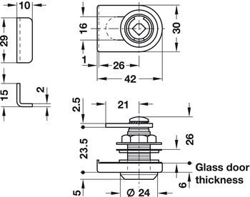 Glass Door Cam Lock, Symo 3000