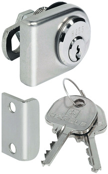 Glass Door Cam Lock, with Pin Tumbler Cylinder, Standard Profile, Backset 26 mm