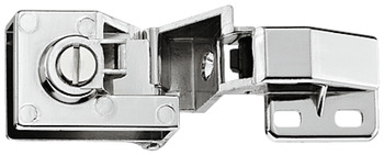Glass door hinge, for door mounting without glass drilling, full overlay mounting