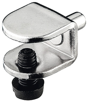 Glass Shelf Support, with Set Screw, Steel