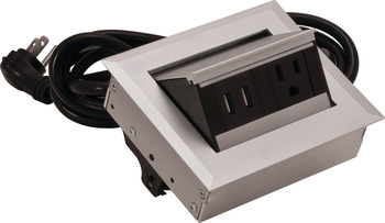 Hide-A-Dock Power/Data Station, 1 AC Outlet, 2 USB Ports