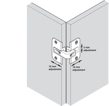Hinge, Pie Cut Corner Hinge, 78 degree, zinc, nickel plated