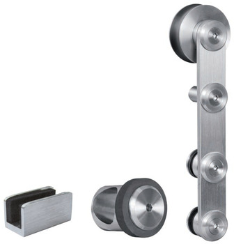 Hollow Tube Stainless Steel Track Set, Flatec IV for Glass Doors
