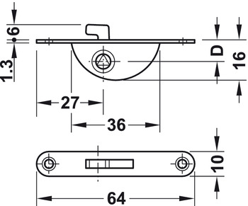 Hook Bolt Mortise Lock, with Catch, Backset 9 mm (23/64)