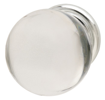 Knob, Clear & Polished Chrome, Crystal & Zinc