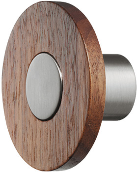 Knob, Wood and zinc alloy, round