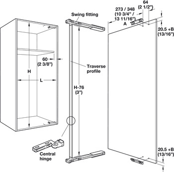 Lateral Swing Fitting, Pegaso 20 Set, for One Door