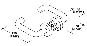 Lever Handle, with Half Spindle on the Square and Rose with Internal Return Spring