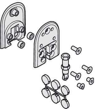Lower Guide Set, Spring Loaded for One Glass Door